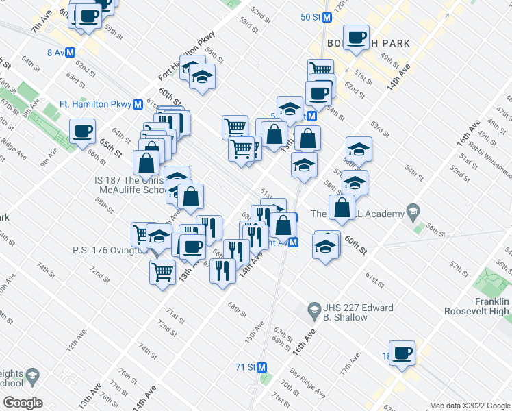 map of restaurants, bars, coffee shops, grocery stores, and more near 62nd Street in Brooklyn