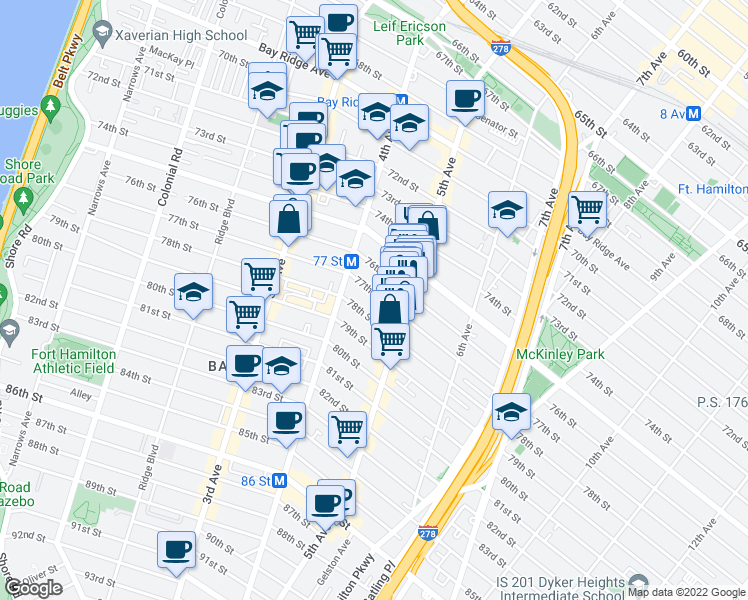 map of restaurants, bars, coffee shops, grocery stores, and more near 450 77th Street in Brooklyn