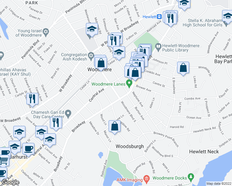 map of restaurants, bars, coffee shops, grocery stores, and more near 881-899 Broadway in Woodmere