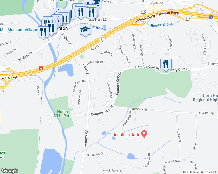 map of restaurants, bars, coffee shops, grocery stores, and more near 1 Pinehurst Circle in Hunterdon County