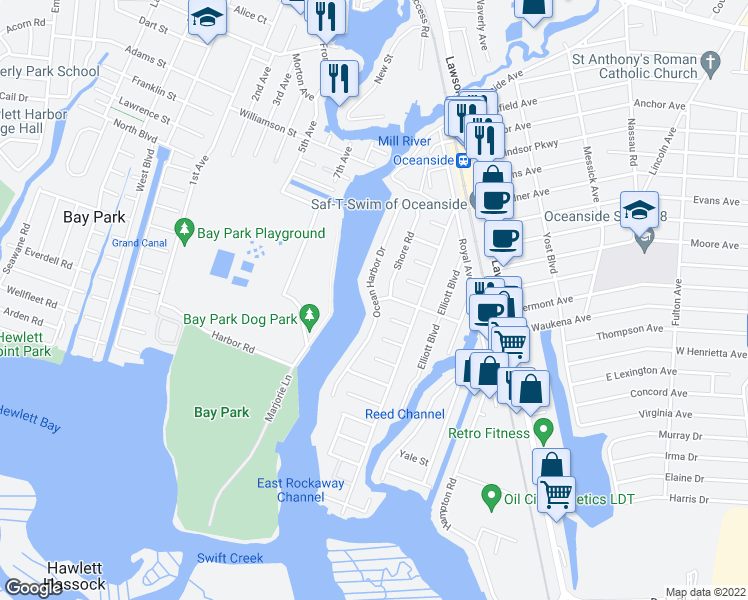 map of restaurants, bars, coffee shops, grocery stores, and more near Ocean Harbor Drive in Oceanside