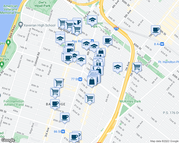 map of restaurants, bars, coffee shops, grocery stores, and more near 438 74th Street in Brooklyn