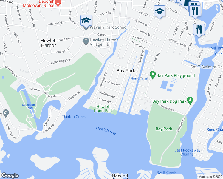 map of restaurants, bars, coffee shops, grocery stores, and more near Yarmouth Road in Bay Park