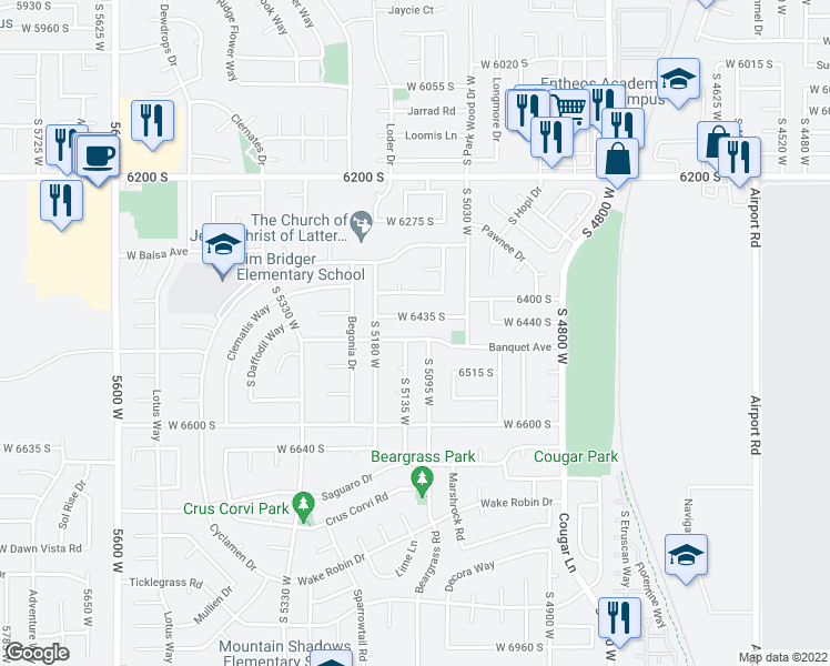 map of restaurants, bars, coffee shops, grocery stores, and more near 5108 Banquet Avenue in West Jordan
