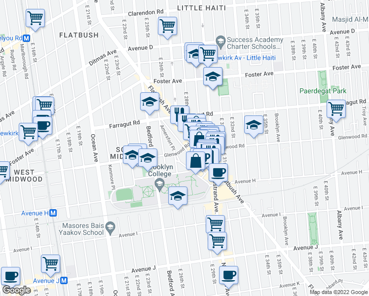 map of restaurants, bars, coffee shops, grocery stores, and more near Glenwood Road & Kenilworth Place in Brooklyn