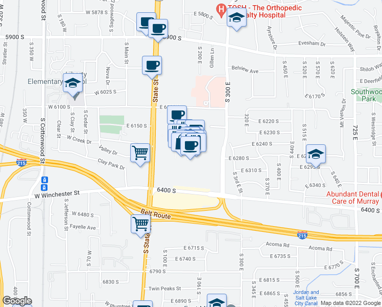 map of restaurants, bars, coffee shops, grocery stores, and more near 6191 South State Street in Murray