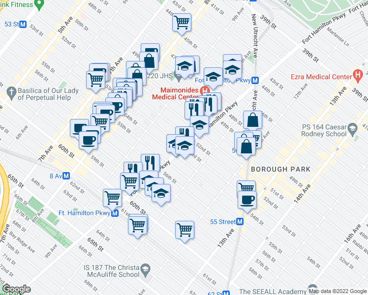 map of restaurants, bars, coffee shops, grocery stores, and more near 5300 Fort Hamilton Parkway in Brooklyn