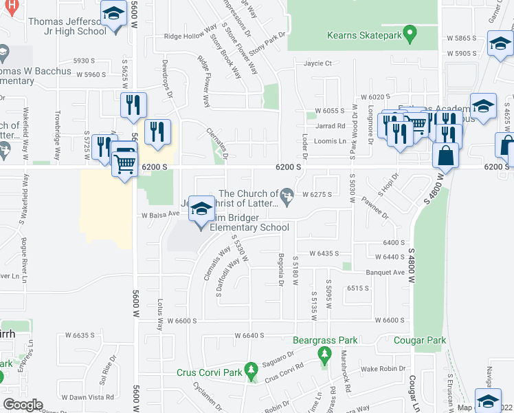 map of restaurants, bars, coffee shops, grocery stores, and more near 6301 South Cosmo Drive in West Jordan