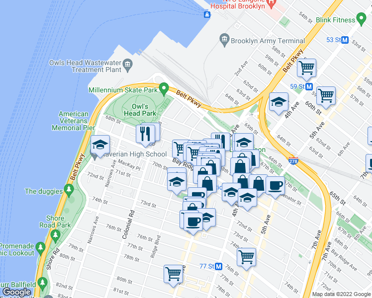 map of restaurants, bars, coffee shops, grocery stores, and more near 68th Street & Ridge Boulevard in Brooklyn