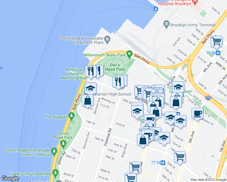 map of restaurants, bars, coffee shops, grocery stores, and more near 85 Bay Ridge Avenue in Brooklyn
