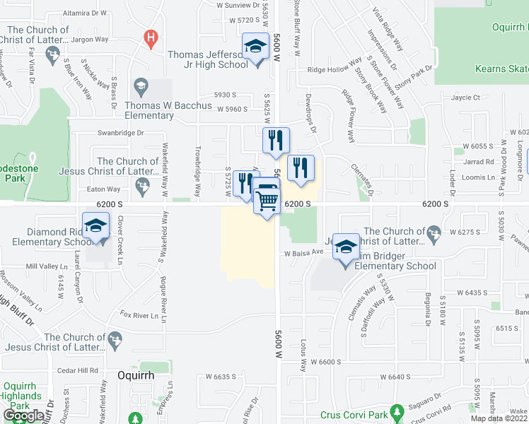 map of restaurants, bars, coffee shops, grocery stores, and more near 5633 West 6200 South in Salt Lake City
