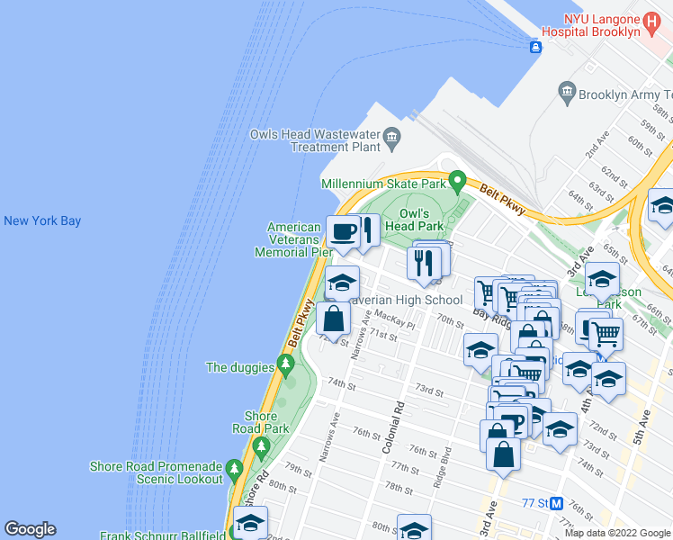 map of restaurants, bars, coffee shops, grocery stores, and more near Shore Road in Brooklyn