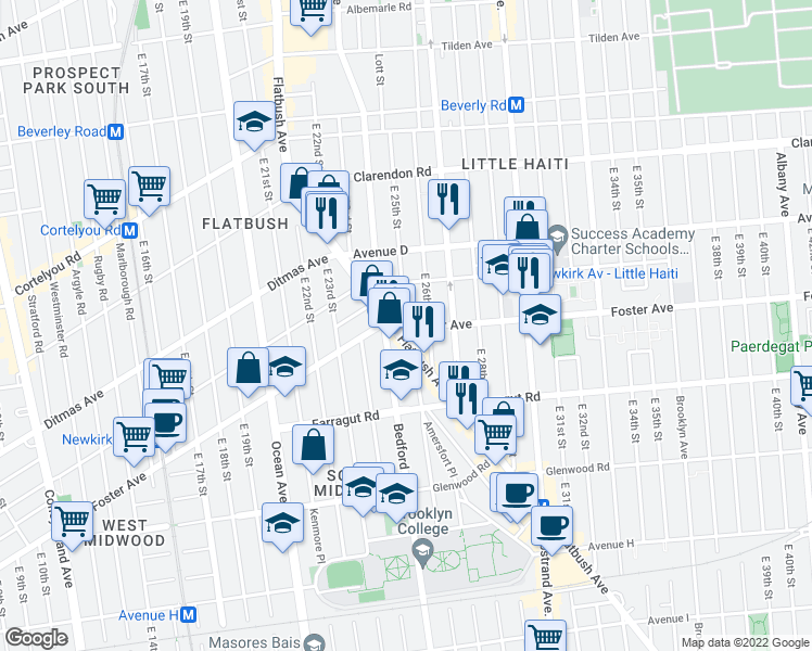 map of restaurants, bars, coffee shops, grocery stores, and more near Foster Avenue & East 25th Street in Brooklyn