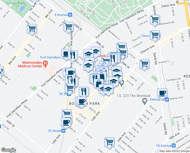 map of restaurants, bars, coffee shops, grocery stores, and more near 44th Street in Brooklyn