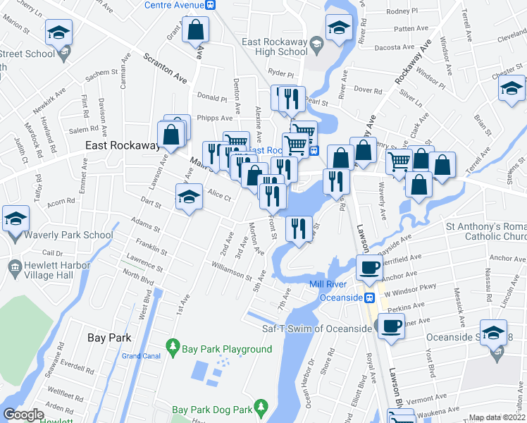 map of restaurants, bars, coffee shops, grocery stores, and more near 3 Main Street in East Rockaway