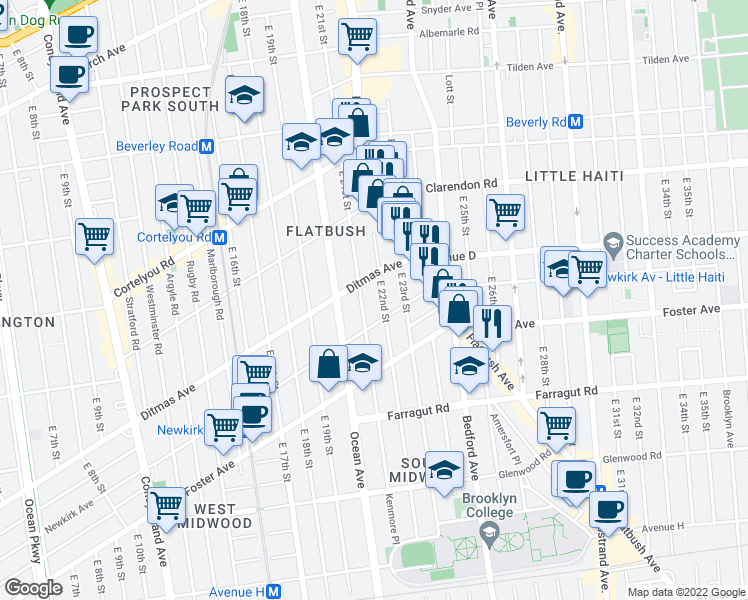 map of restaurants, bars, coffee shops, grocery stores, and more near 518 East 22nd Street in Brooklyn
