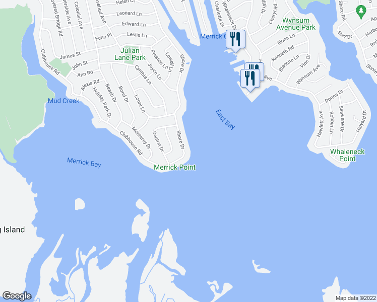 map of restaurants, bars, coffee shops, grocery stores, and more near 3083 Shore Dr in Merrick