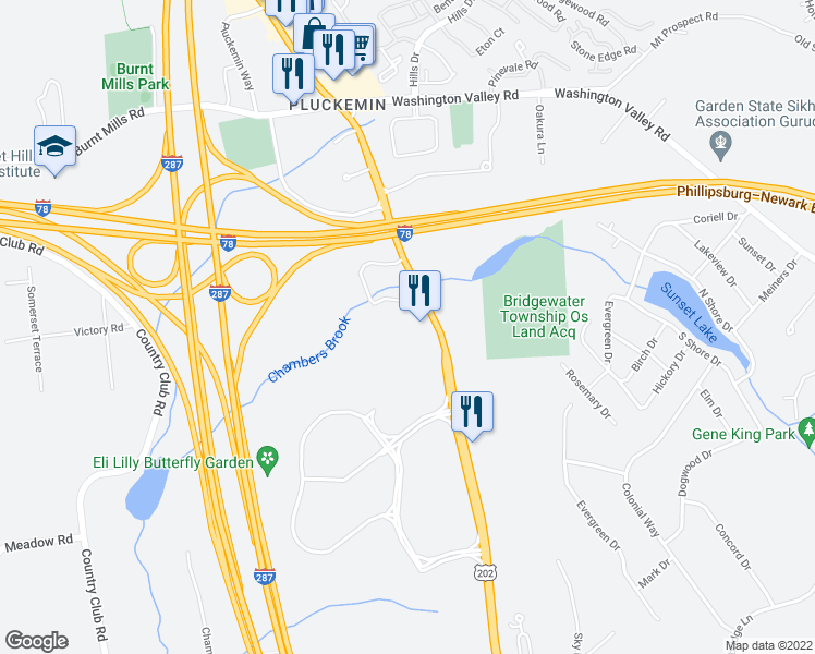 map of restaurants, bars, coffee shops, grocery stores, and more near 1251 Route 202 / 206 in Bridgewater