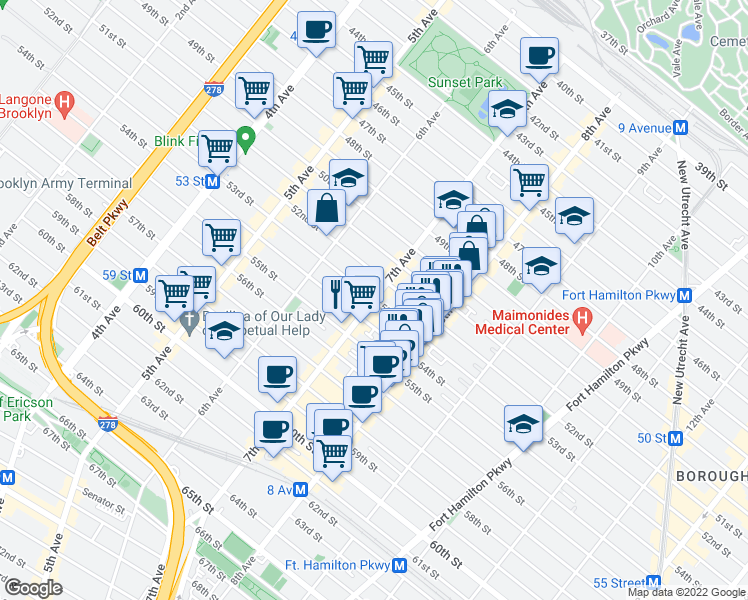 map of restaurants, bars, coffee shops, grocery stores, and more near 7th Ave & 53rd St in Brooklyn
