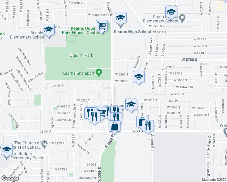 map of restaurants, bars, coffee shops, grocery stores, and more near Thorncrest Way in Kearns