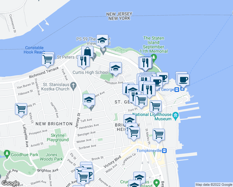 map of restaurants, bars, coffee shops, grocery stores, and more near 30 Daniel Low Terrace in Staten Island
