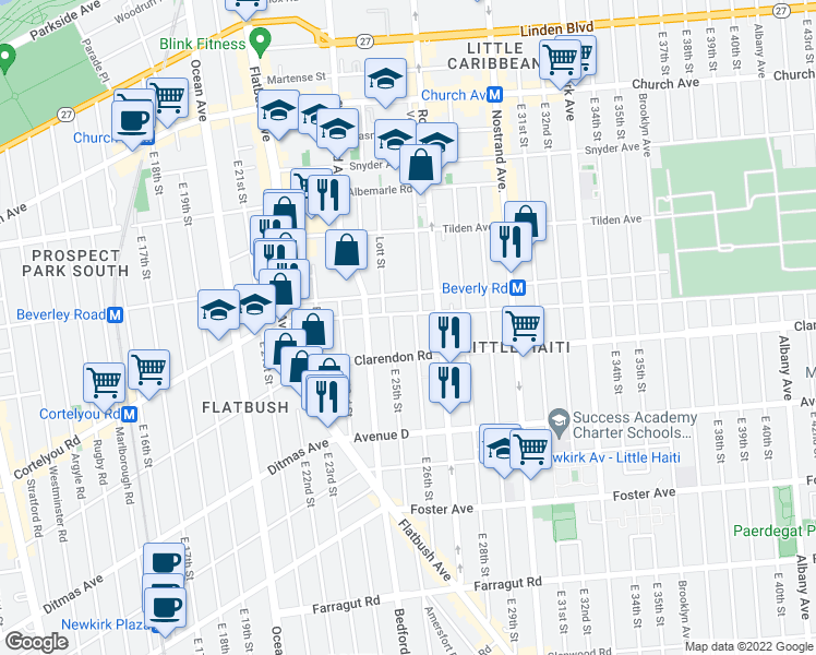 map of restaurants, bars, coffee shops, grocery stores, and more near 238 East 26th Street in Brooklyn