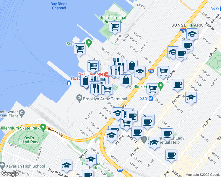 map of restaurants, bars, coffee shops, grocery stores, and more near 2nd Avenue in Brooklyn