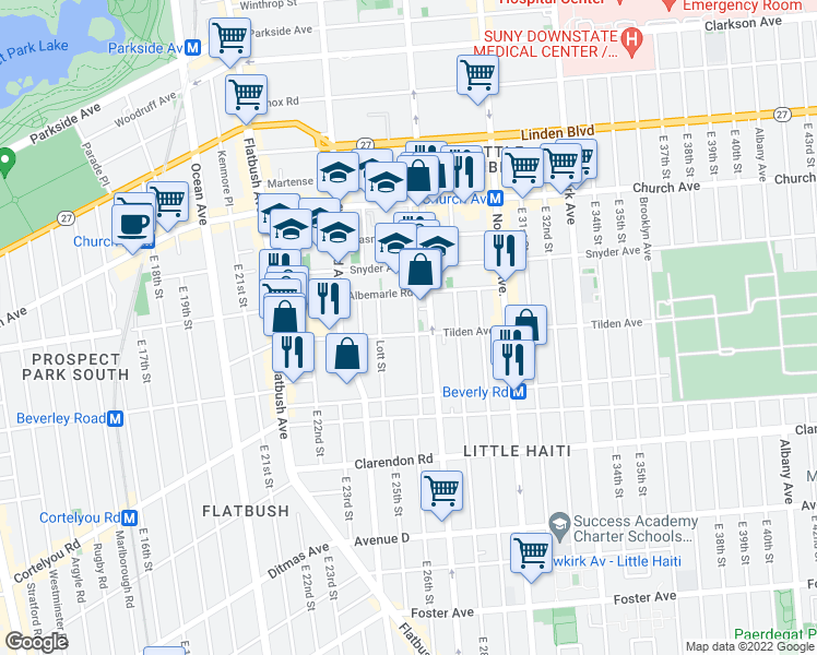 map of restaurants, bars, coffee shops, grocery stores, and more near 2535 Tilden Avenue in Brooklyn