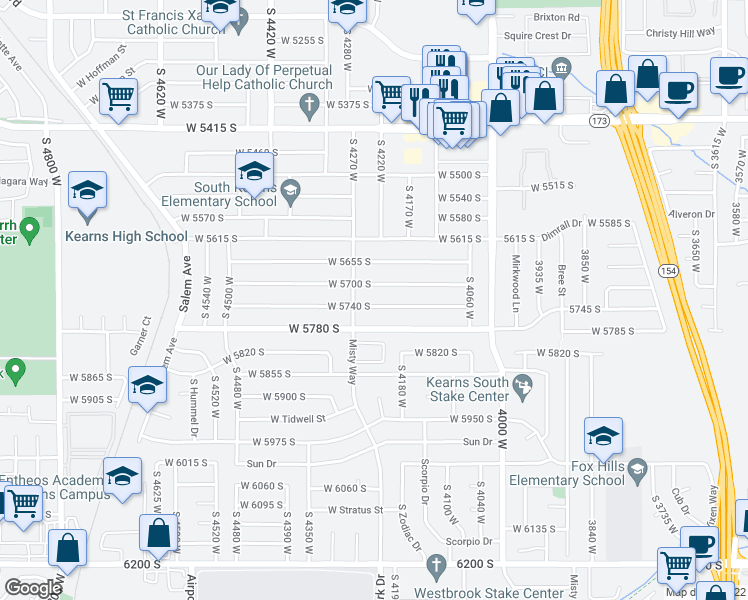 map of restaurants, bars, coffee shops, grocery stores, and more near 4216 West 5740 South in Kearns