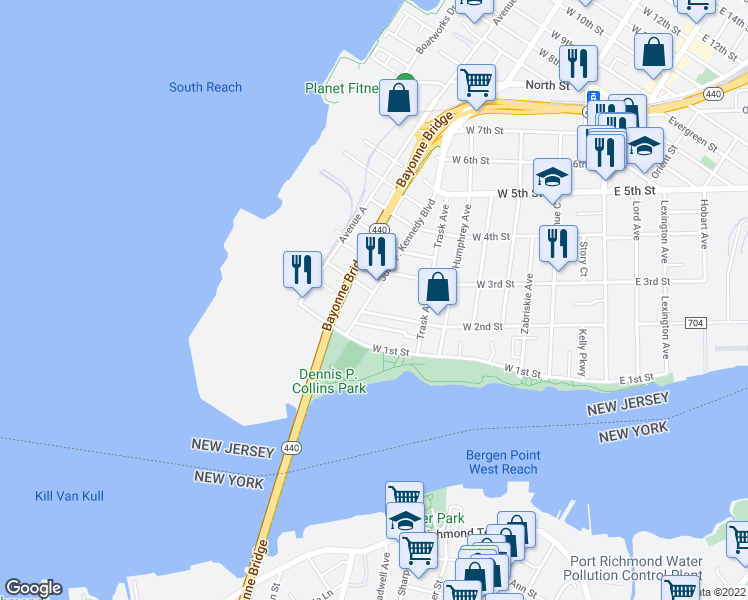 map of restaurants, bars, coffee shops, grocery stores, and more near 42-68 John F. Kennedy Boulevard in Bayonne