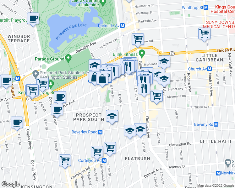 map of restaurants, bars, coffee shops, grocery stores, and more near 50 East 19th Street in Brooklyn