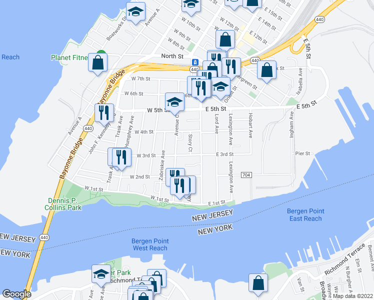 map of restaurants, bars, coffee shops, grocery stores, and more near 7 Story Court in Bayonne