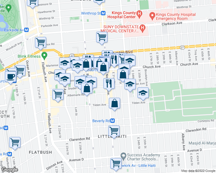 map of restaurants, bars, coffee shops, grocery stores, and more near Nostrand Avenue & Snyder Avenue in Brooklyn