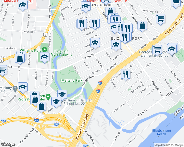map of restaurants, bars, coffee shops, grocery stores, and more near Doyle Street in Elizabeth