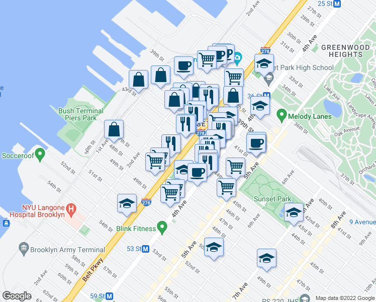 map of restaurants, bars, coffee shops, grocery stores, and more near 3rd Avenue & 44th Street in Brooklyn