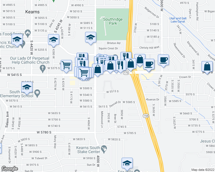 map of restaurants, bars, coffee shops, grocery stores, and more near 5490 South 3910 West in Salt Lake City