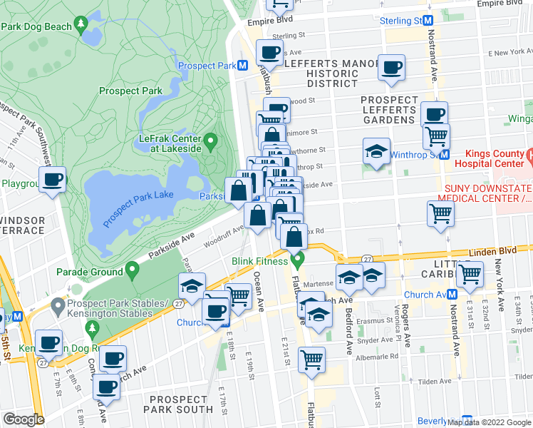 map of restaurants, bars, coffee shops, grocery stores, and more near E 21st St & Woodruff Ave in Brooklyn