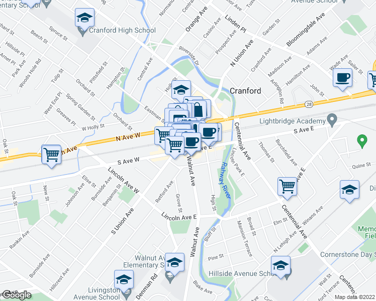 map of restaurants, bars, coffee shops, grocery stores, and more near Walnut Avenue & South Avenue East in Cranford