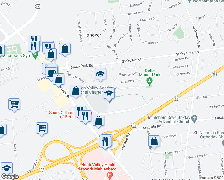 map of restaurants, bars, coffee shops, grocery stores, and more near 3210-3220 Lord Byron Drive in Bethlehem