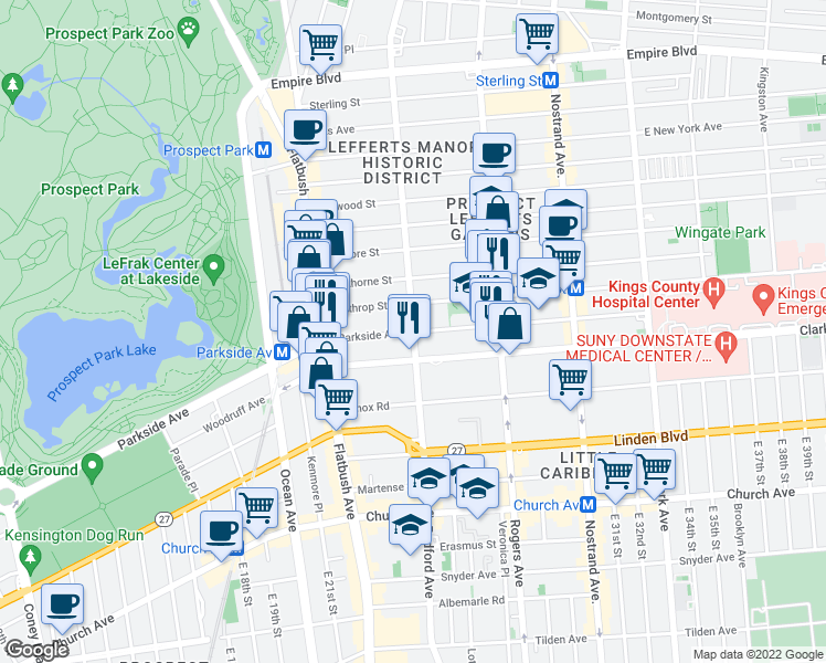 map of restaurants, bars, coffee shops, grocery stores, and more near Bedford Ave & Parkside Ave in Brooklyn