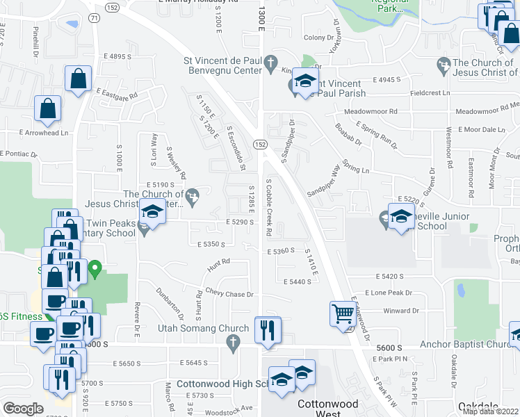 map of restaurants, bars, coffee shops, grocery stores, and more near 5261 South 1285 East in Salt Lake City