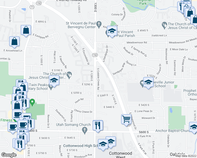 map of restaurants, bars, coffee shops, grocery stores, and more near 5270 Cobble Creek Road in Salt Lake City