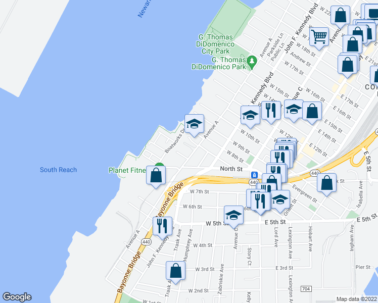 map of restaurants, bars, coffee shops, grocery stores, and more near 219 Avenue A in Bayonne