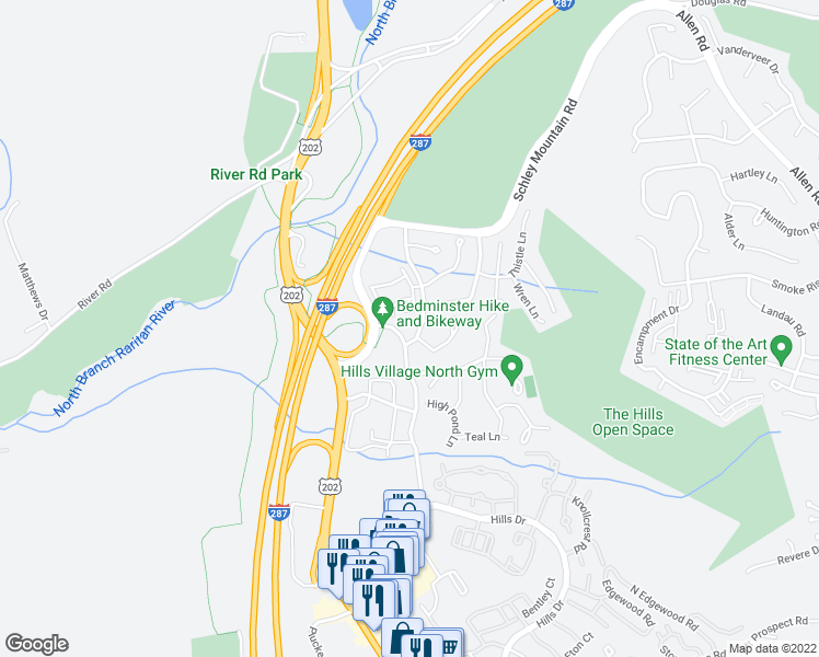 map of restaurants, bars, coffee shops, grocery stores, and more near Robertson Drive in Bedminster Township