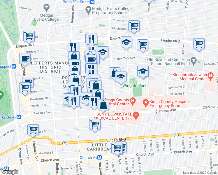 map of restaurants, bars, coffee shops, grocery stores, and more near 428 Fenimore Street in Brooklyn