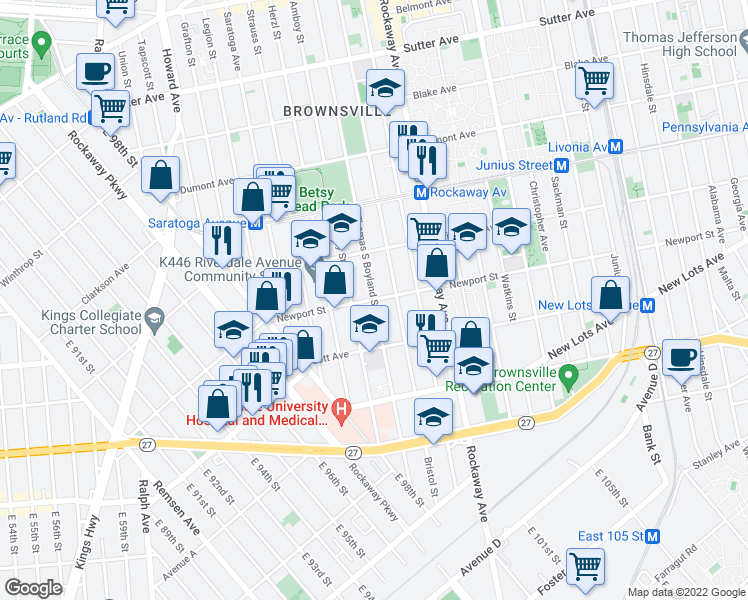 map of restaurants, bars, coffee shops, grocery stores, and more near Thomas S Boyland St & Newport St in Brooklyn