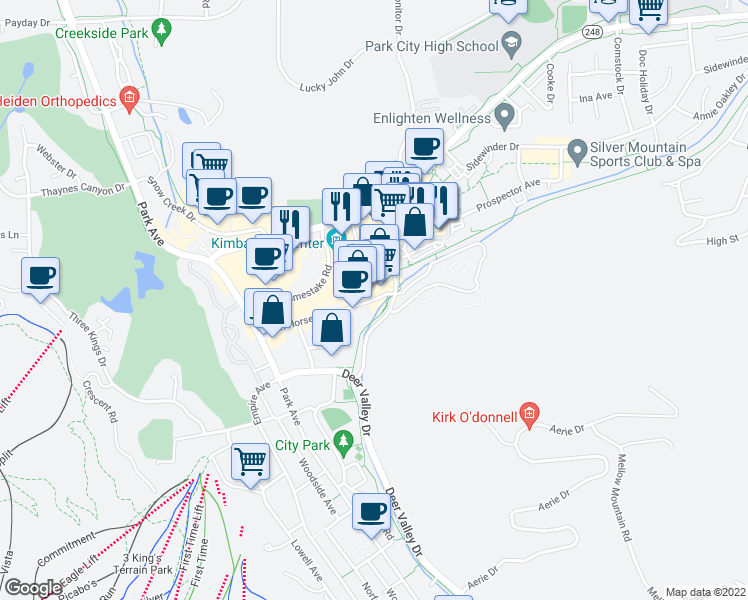 map of restaurants, bars, coffee shops, grocery stores, and more near 1205 Iron Horse Drive in Park City