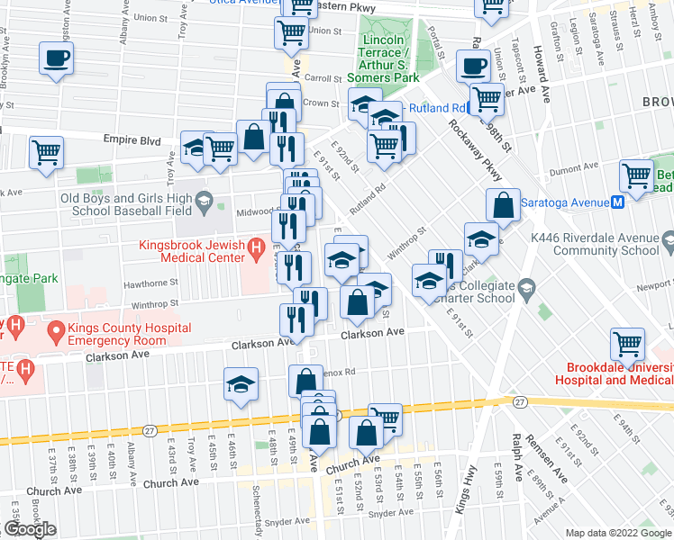 map of restaurants, bars, coffee shops, grocery stores, and more near 28 Winthrop Street in Brooklyn