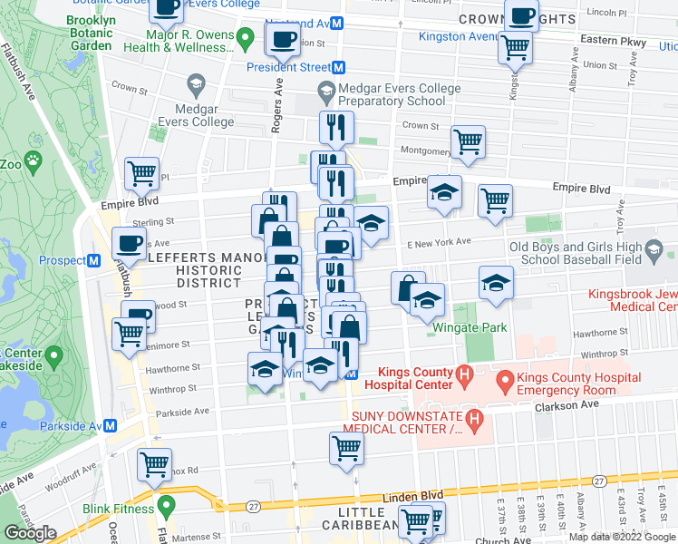 map of restaurants, bars, coffee shops, grocery stores, and more near Nostrand Ave in Brooklyn