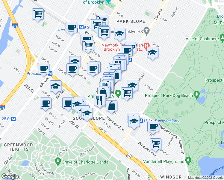 map of restaurants, bars, coffee shops, grocery stores, and more near 427 7th Avenue in Brooklyn